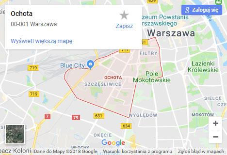 Mapa Google hydraulik Warszawa Ochota